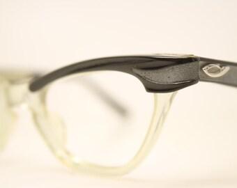 Black Clear cat eye glasses vintage cateye frames eyeglasses NOS