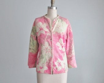60's Cardigan // Vintage 1960's Pink Green Floral Hand Screen Printed Angora Lambswool Cardigan Sweater L