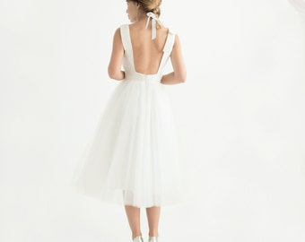 Tea-length sleeveless open-back tulle wedding dress // custom short wedding dress // short wedding reception dress // Erika Dress