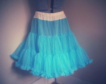 Vintage Aqua Blue Petticoat Crinoline M - XXL Adjustable