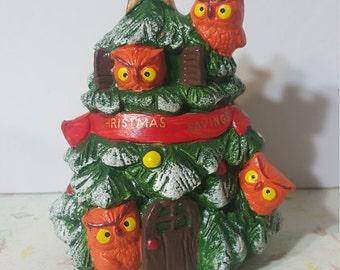 Christmas Tree Bank With Owls