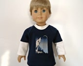 18 inch boy doll shirt layered look navy blue eggshell long sleeve tee howling wolf applique