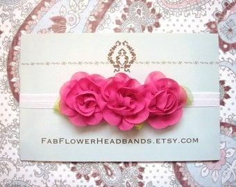 Dark Pink Flower Headband - Hot Pink Baby Headband - Newborn Headband - Bright Pink Floral Headband - Flower Crown