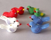 8 lampwork glass bird beads, small multicolor bird beads, pairs in white, red, green and blue