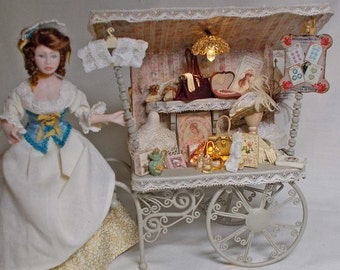 The Dolls House Miniature Victorian Vintage Style Ladies Filled Cart