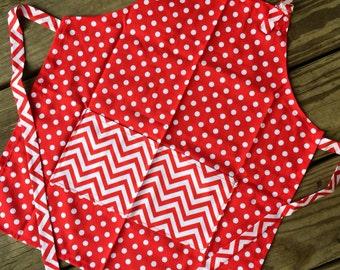 Kids apron, childs apron, childrens apron, red white polka dot apron, small apron, toddler apron, bib apron, art smock