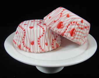 Heart and Stripe Mini Cupcake Liners, Mini Baking Cups, Mini Muffin Papers, Candy Cups, Valentine's Day Cupcake Liners - QTY. 25