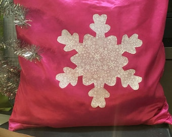 snowflake pillow cover, pink pillow cover, holiday decor, christmas pillow, classic christmas, christmas decoration, accent pillow
