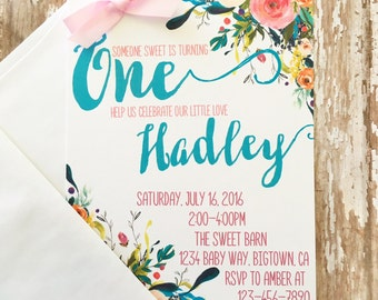 12 floral first birthday invitations, printed flower 1st birthday invitations, floral corner invites, first birthday floral invites