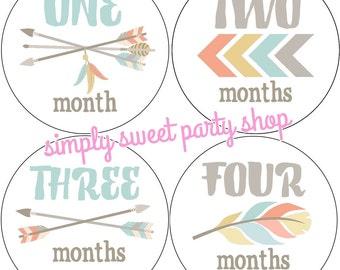 tribal baby month milestone stickers, arrow baby monthly labels, baby month stickers, baby boy stickers, arrow baby stickers, set of 12