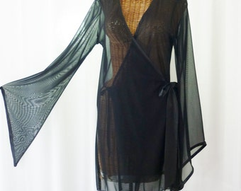 Frederick's Sheer Black Robe Pointed Bell Long Sleeve New Old Stock