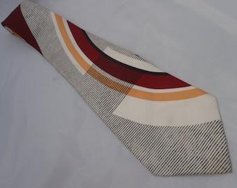 1940s Vintage Black, White, Salmon and Burgundy Necktie Arrow Simple Graphic Design