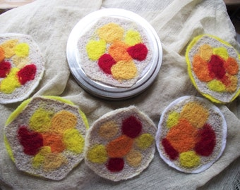 Felt Coaster Set Abstract Round Reversible Drink Coasters Wool-felted Wine Beer Round Multicolor Yellow Orange Red mug rug Tin Canister