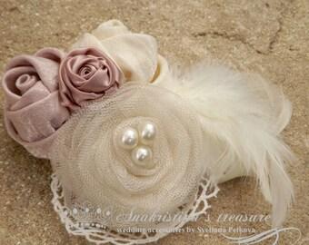 Bridal Fascinator,Blush Pink Feather Fascinator,Roses & Vintage lace Fascinator