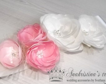 Wedding sash, Floral bridal sash, Champagne sash,Pale pink flowers,Ivory flowers,Ivory band