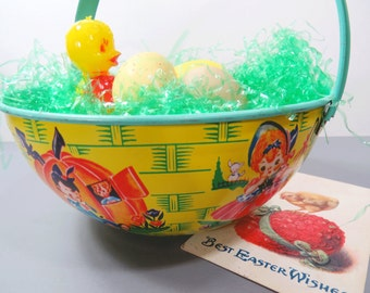 Chein Tin Litho Sand Beach Bucket, Vintage Toy Bucket, Easter Egg Basket, 1950s,