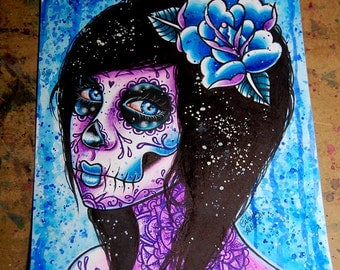 ORIGINAL 8x10  in Watercolor Painting - Azula Day of the Dead Pop Art Portrait Mixed Media