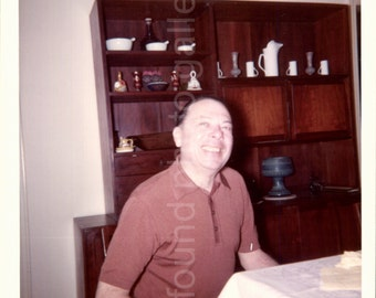 Vintage Photo, Man Sitting at Dining Room Table, Color Photo, Old Photo, Snapshot, Found Photo, Vernacular Photo   *AUGUSTINE0459