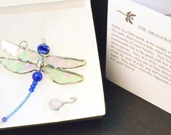 The DRAGONFLY SYMPATHY GIFT and Poem D05.    Blue Stained Glass Dragonfly