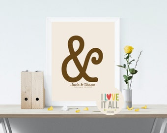 """Modern Love Gift . Graphic Typography Ampersand Print . Personalized You And Me """"&"""" Punctuation Symbol Wedding Anniversary . Reception Decor"""