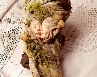 Fairy, OOAK Sculpture, Fantasy, Wood, The Kiss