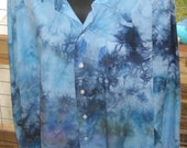 Tie Dye - Ice Dyed - Upcycled-Recycled - Button Up Long Sleeve Shirt - Mens Size 17 32/33 - Unisex - Blues - Ready to Ship - Casual Shirt