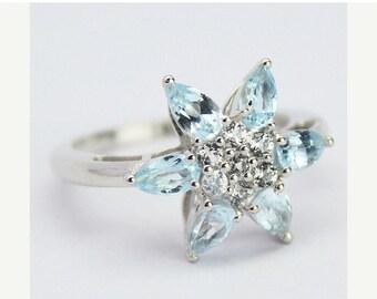 VALENTINE SALE 55% Blue Topaz Sterling Silver Ring 1504RG