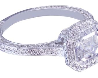 GIA G-VS2 14K White Gold Asscher Cut Diamond Engagement Ring Bezel 2.25ctw
