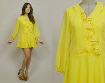 70s Mini Dress Ruffle Canary Yellow Drop Waist 1970s Mod Puff Sleeves Hippie Flared Skirt V Neckline Wrap Dress / Size M Medium