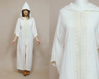 Hooded Cloak 70s Robe Duster Jacket Cream Gauze Dress Lace Trim Kimono Zip Up 1970s Hippie White Witch Bell Sleeves / OS One Size
