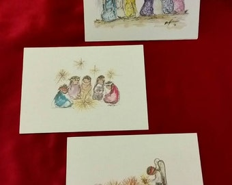 3 Vintage DeGrazia blank notecards prints of watercolors