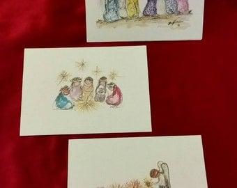 CHRISTMAS in JULY - 3 Vintage DeGrazia blank notecards prints of watercolors
