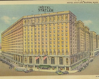 Hotel Statler Boston Massachusetts – Vintage Linen Postcard 1940