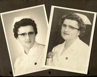 "Pair of Black and White Photos of Graduating Nurses 5"" x 7"" One From Kindersley Saskatchewan"