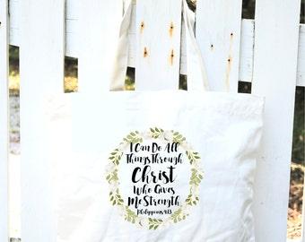 Scripture Tote Bag-Cotton Canvas Tote Bag-Watercolor Flower Tote-Flower Wreath Tote Bag-Philippians 4:13-Wedding-Bridesmaids Gift