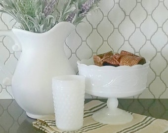 Vintage white milk glass compote/serving dish