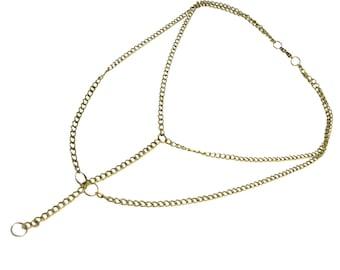 Y Chain Necklace - Bronze - Y Necklace - 19 Inches