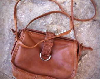 Vintage 90's Tobacco Brown Mini Leather Sling Handbag