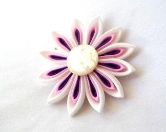 Pink and Purple Daisy Hair Flower Tsumami Kanzashi Hair Clip