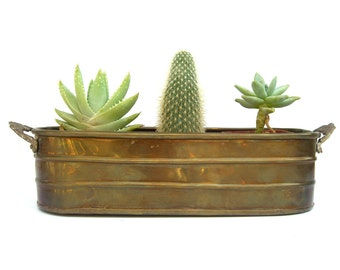 Vintage Brass Planter, Rustic Patina Cottage Boho Decor, India, Tub Centerpiece Mantle, Flowers Succulents, Floral Flower Handles