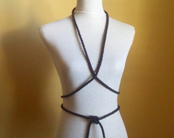 black leather belt, necklace, body harness by Tuscada. Ready to ship.