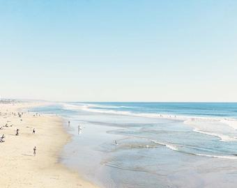 "Huntington Beach California, Beach Landscape, Blue Beach Decor, Coastal Wall Art, California Coast, Pacific Ocean, Beach Photography """