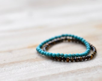 Tigers Eye Turquoise Stretch Bracelet