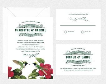 printable DIY wedding invitation suite vintage retro edwardian wedding rsvp card reception card details card-