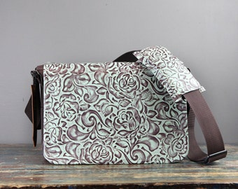 Large Camera Bag - IN STOCK -  Mint Floral Large sized Canvas and Leather DSLR Camera Bag