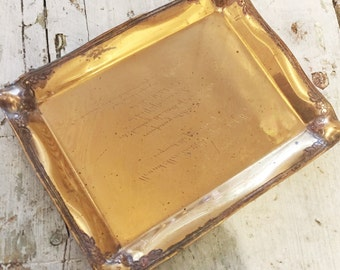 Antique Tiffany and Co Copper Tray made From Hotel Astor Dinner Invitation