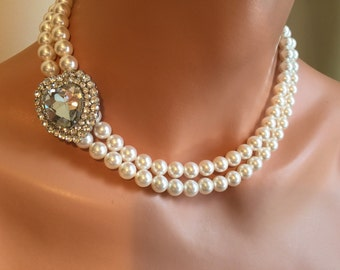 Bridesmaid Pearl Necklace Set with Rhinestone Brooch Heart and 2 double strands of Swarovski Pearls in your choice of color wedding bridal