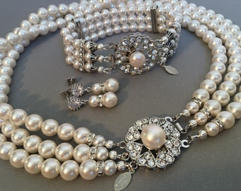 Complete Bridal Jewelry Set Pearl Necklace Bracelet Earrings vintage style like Jackie O 3 multi Strands Swarovski pearls in choice of color