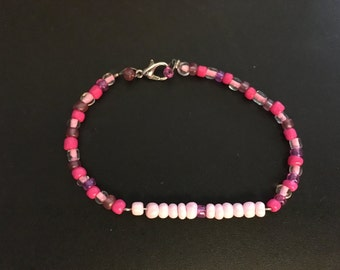 Pink Bar Beaded bracelet 7.5in