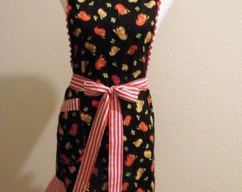 Apron Handmade Candy Cane Cowgirl Western Theme Bib Christmas Apron Unique, colorful Ready to ship